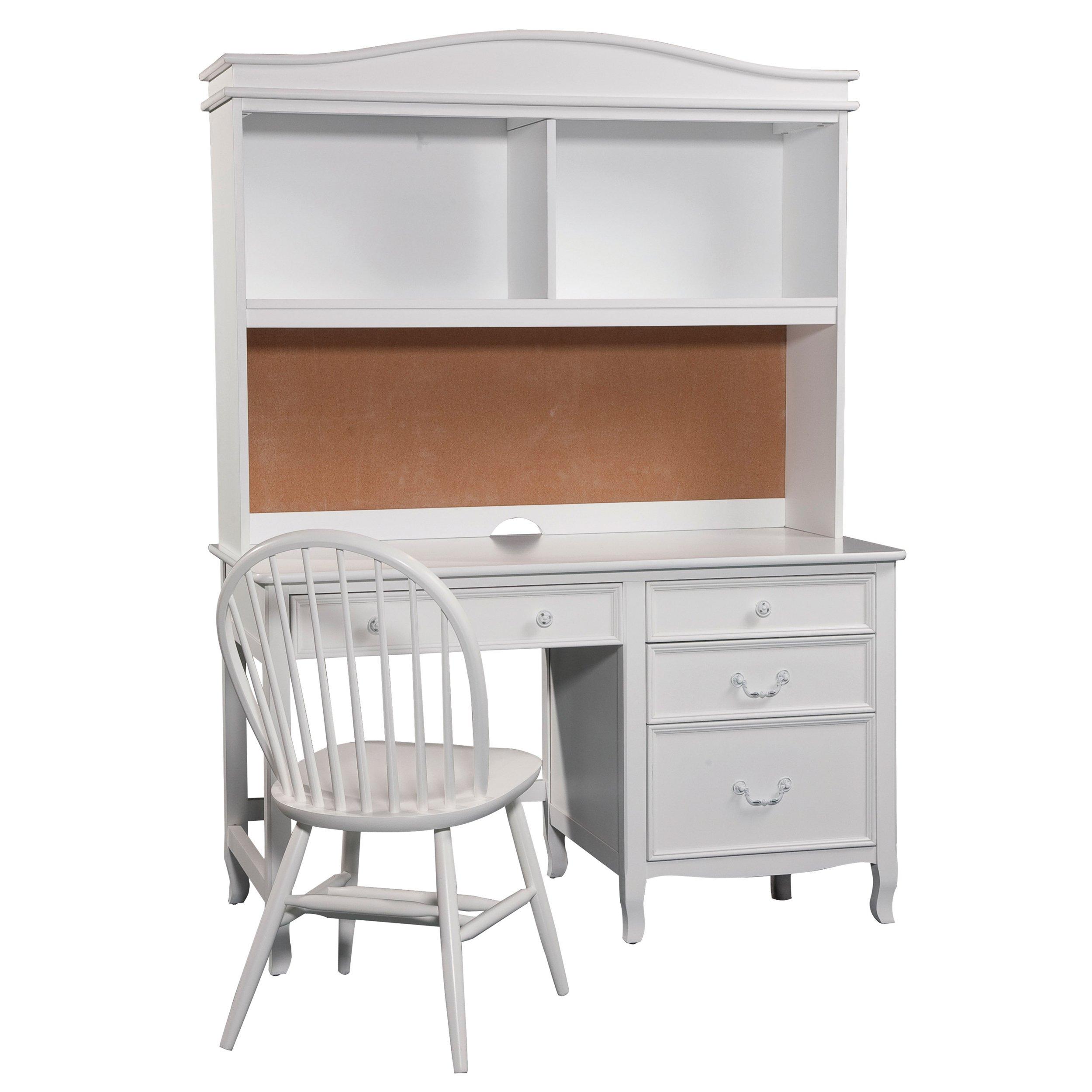 Bolton Furniture Emma Pedestal Desk with Hutch, White