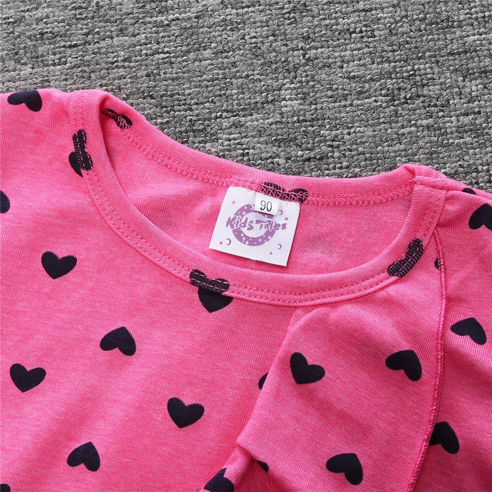 Kids Tales Baby girl Heart Bow Cute 2PCS T-shirt+Ankle Pants