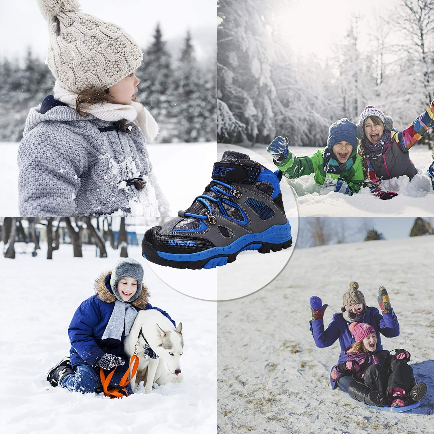 Kids Boots Hiking Boots Warm Anti-Slip Snow Boots Winter Camping Sneakers for Boys Girls