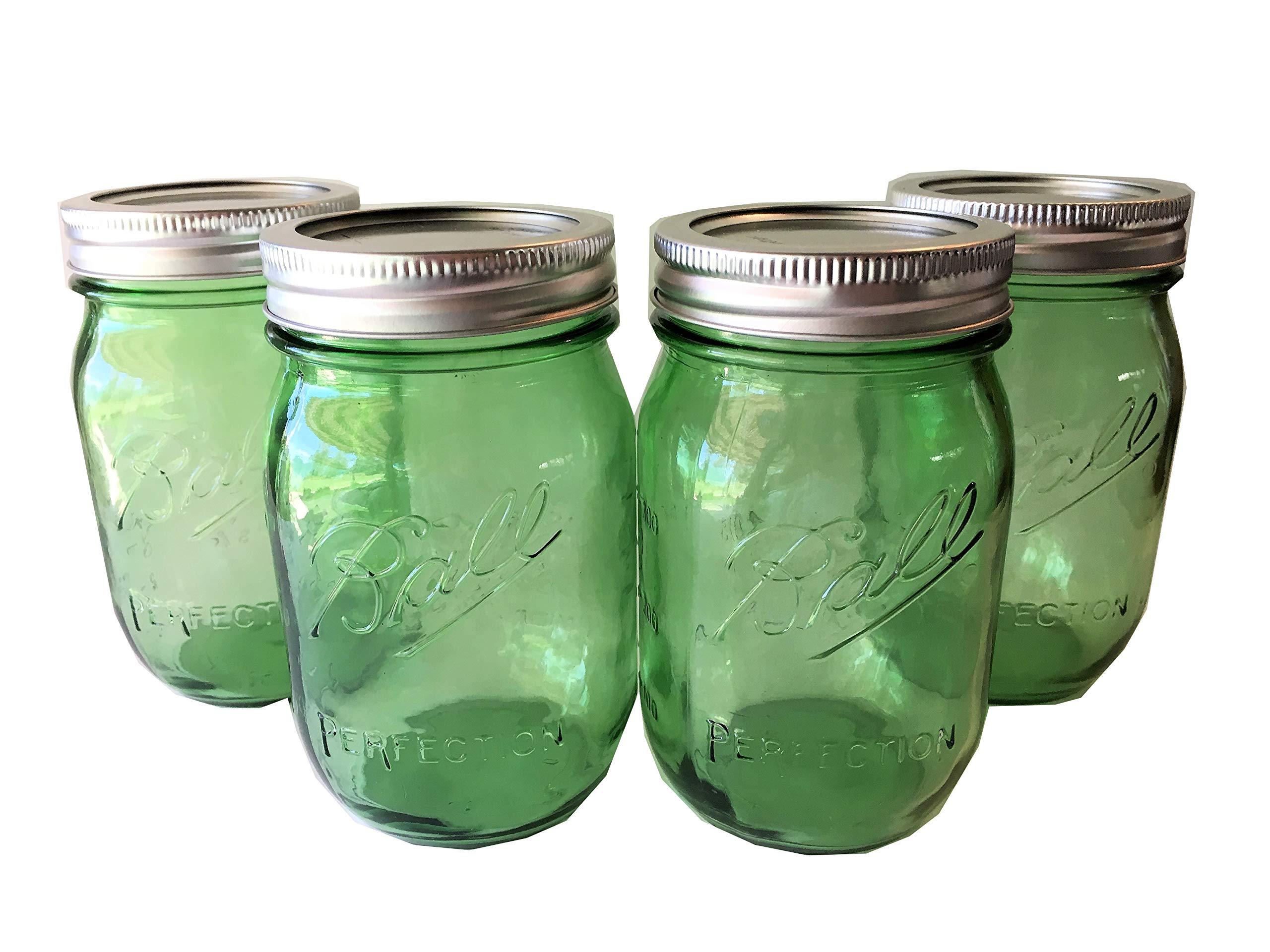 Ball Mason Jar-16 oz. Green Glass Heritage Collection - Set of 4