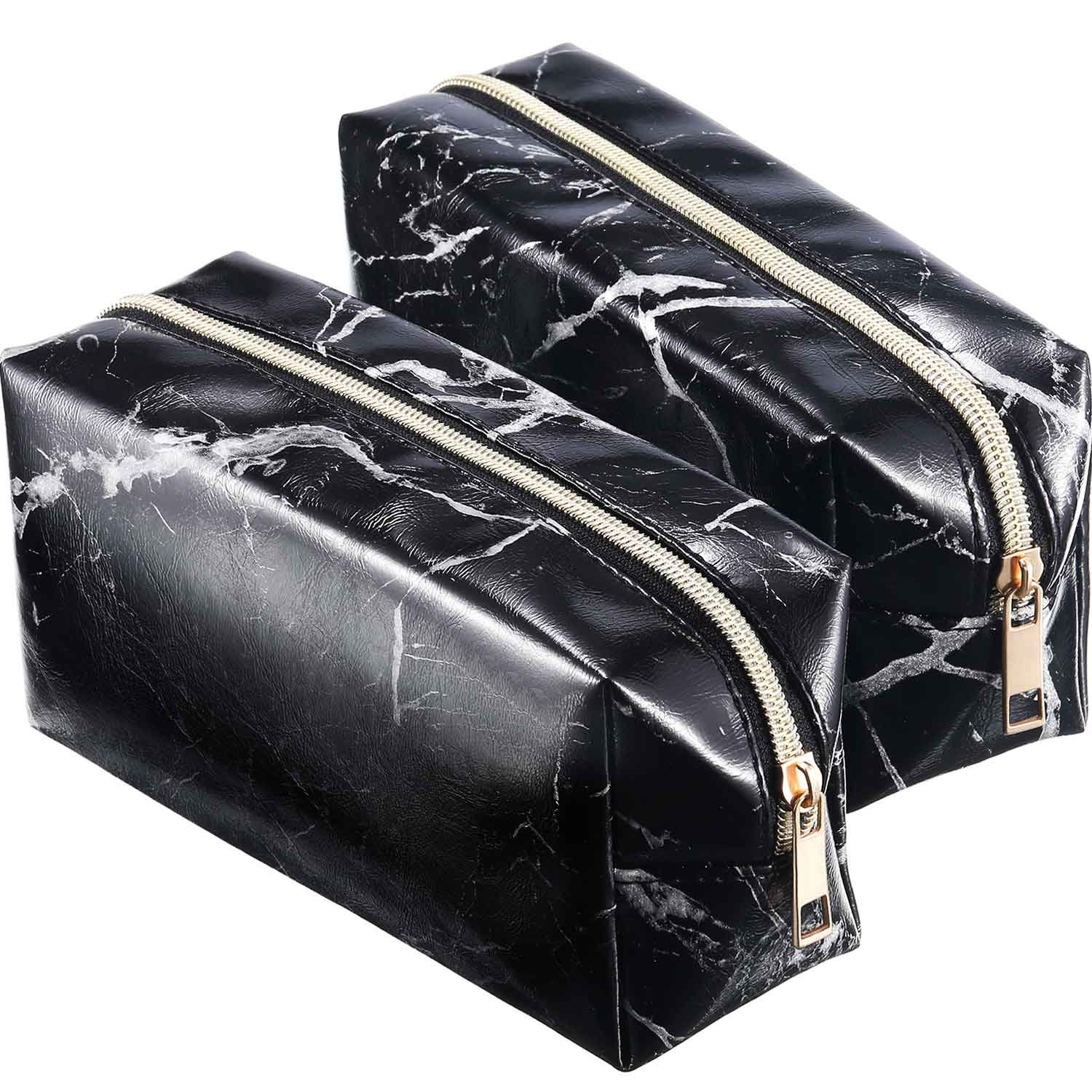 Mtlee 2 Pieces Cosmetic Toiletry Makeup Bag Pouch Gold Zipper Storage Bag Marble Pattern Portable Makeup Brushes Bag (Black)