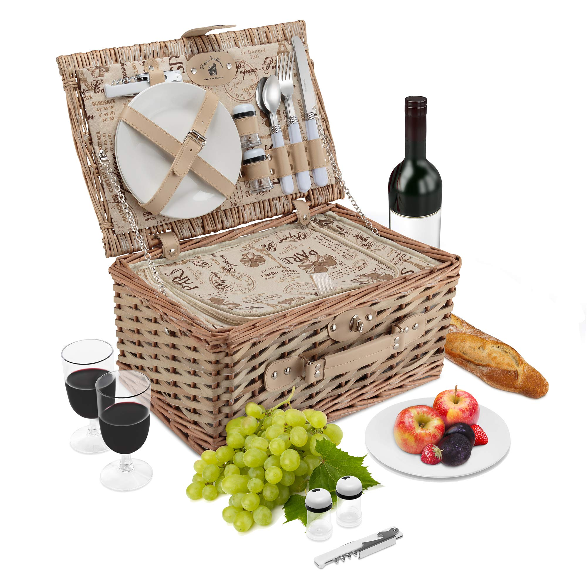 Wicker Picnic Basket Set   2 Person Deluxe Vintage Style Woven Willow Picnic Hamper   Built-in Cooler   Ceramic Plates, Stainless Steel Silverware, Wine Glasses, S/P Shakers, Bottle Opener (Natural) by Picnic Traditions