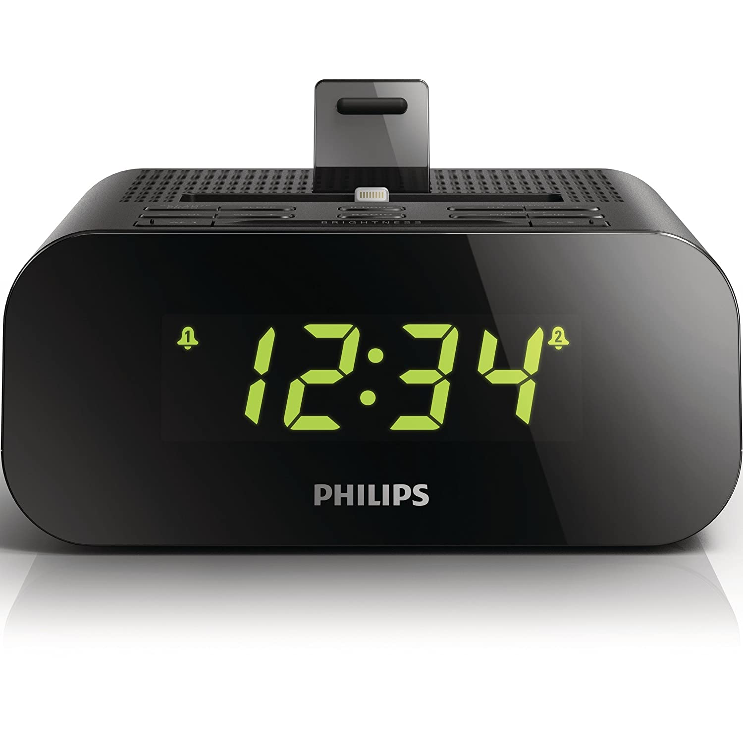Philips AJ3275D - Radiodespertador con dock Lightning (iPhone 5/iPod 7), Negro (importado): Amazon.es: Electrónica