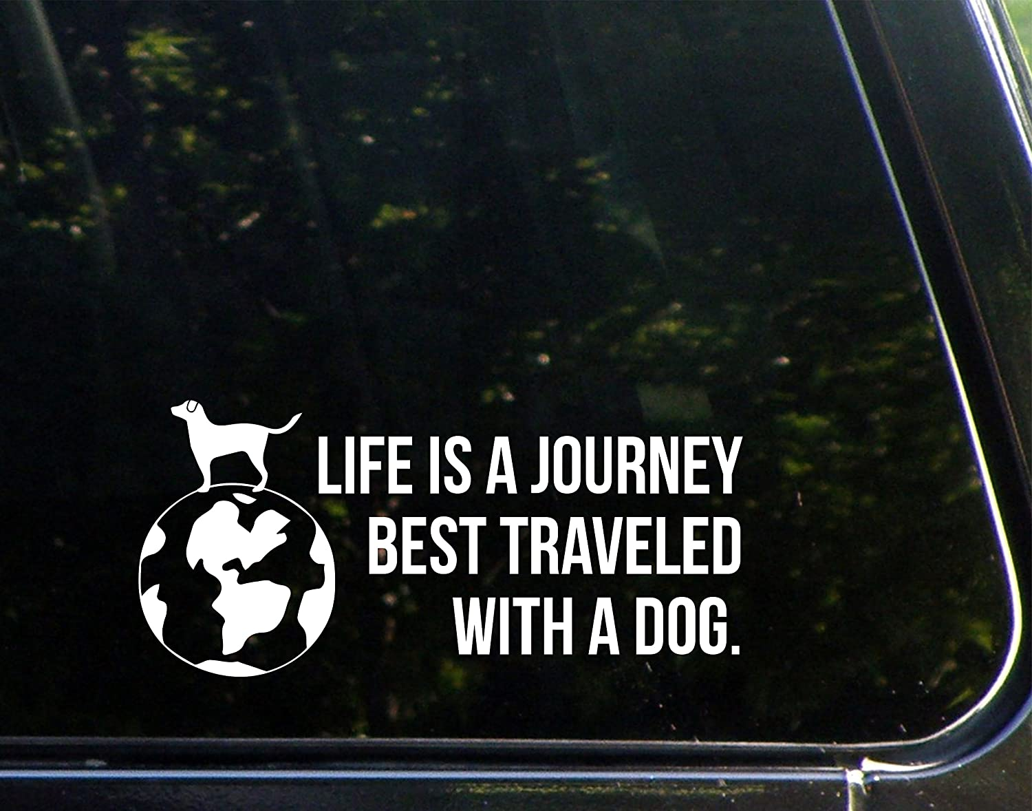 Amazon com life is a journey best traveled with a dog 8 3 4 x 3 3 4 vinyl die cut decal bumper sticker for windows cars trucks laptops