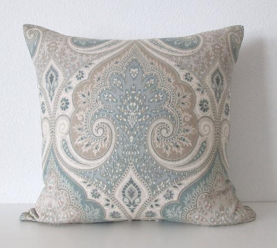 Amazon Latika Seafoam Medallion Linen Taupe Green Decorative Simple Seafoam Decorative Pillows