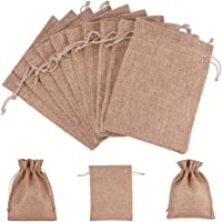 (Brown) - nbeads 100 Pcs 18cm x 13cm Brown Burlap Wedding Pouches Drawstring Bags Jewellery Pouches Gift Pouches