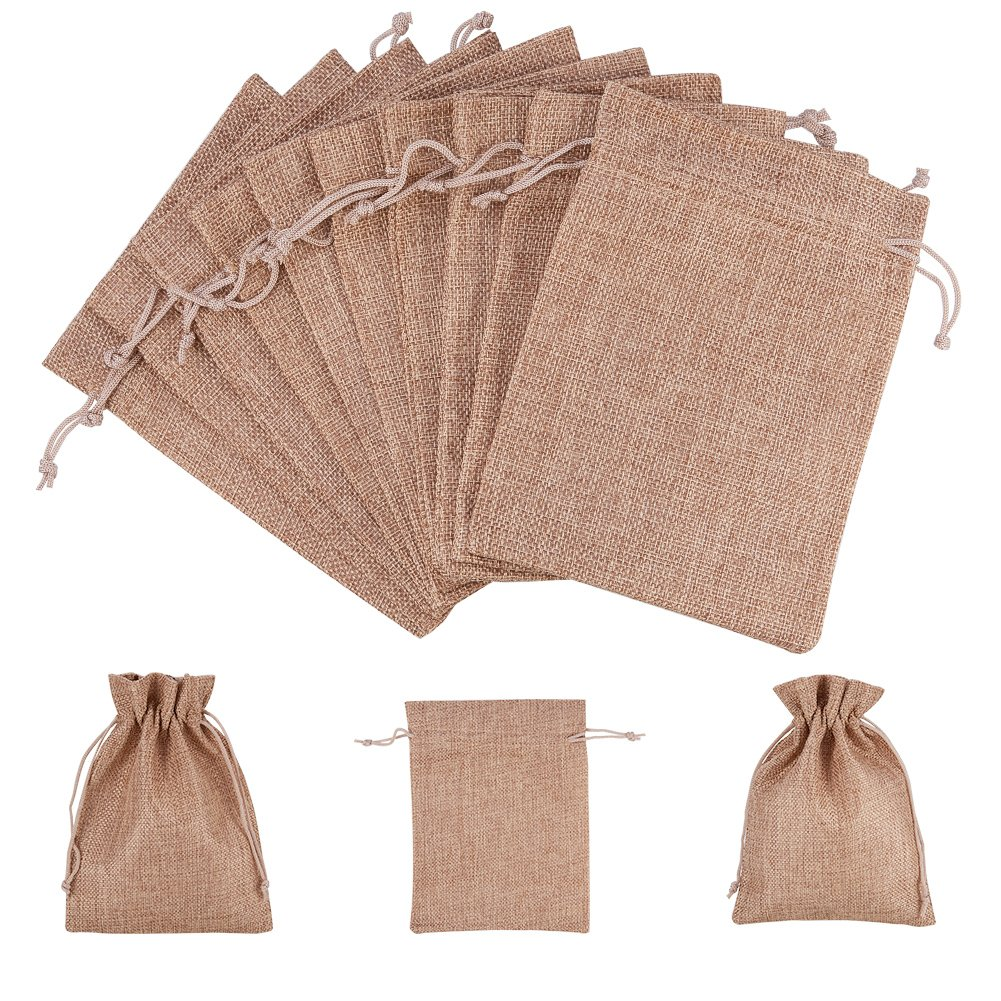 NBEADS 100 Pcs 7x5 Inch Brown Burlap Wedding Pouches Drawstring Bags Jewelry Pouches Gift Pouches by NBEADS