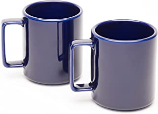 product image for American Mug Pottery Ceramic Square Handle Coffee Mug, Made in USA, Cobalt Blue, 17 oz - Pack of 2