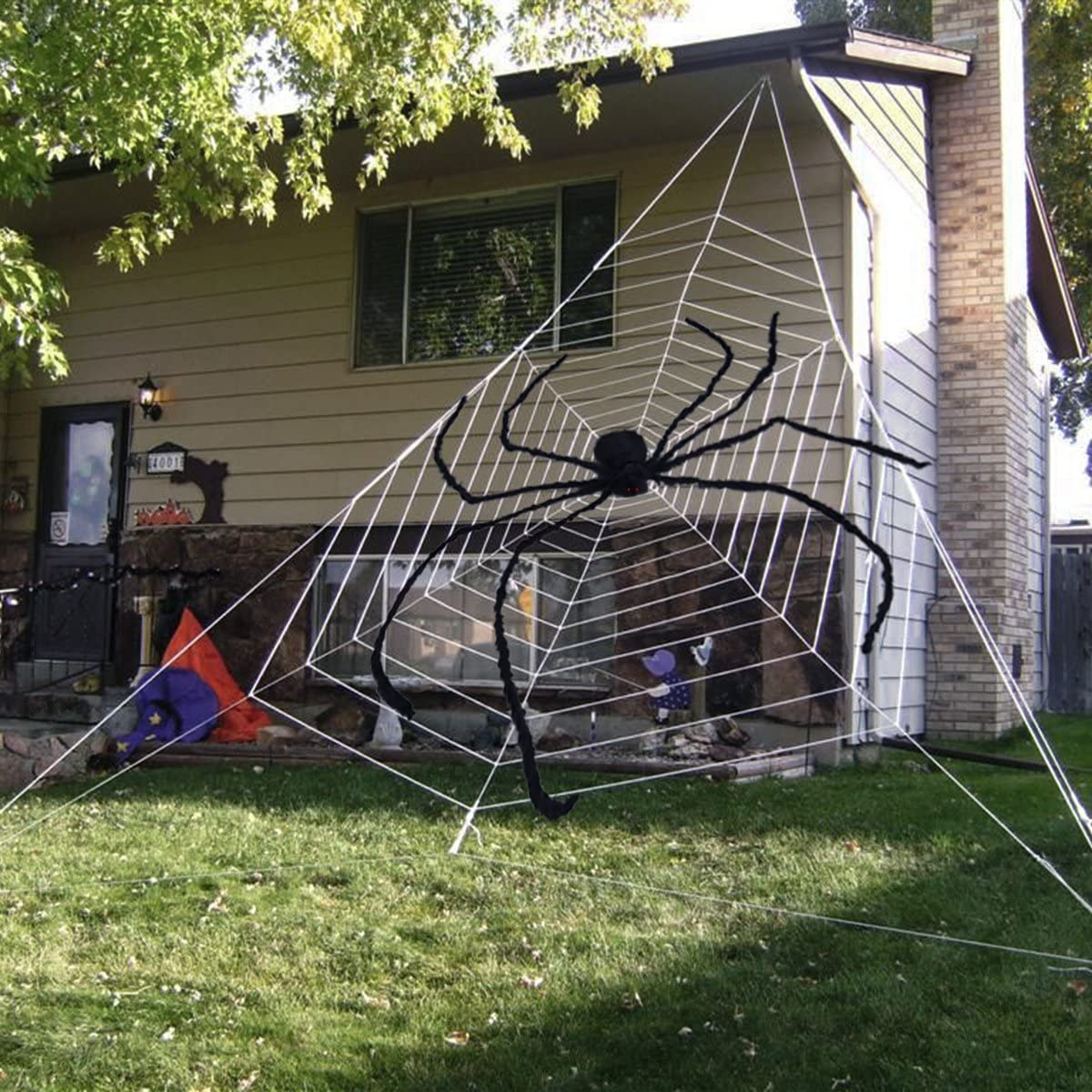 Giant Halloween Spider Black Largest Scary Hairy Spider for Halloween Decorations or Haunted House Decor 228CM