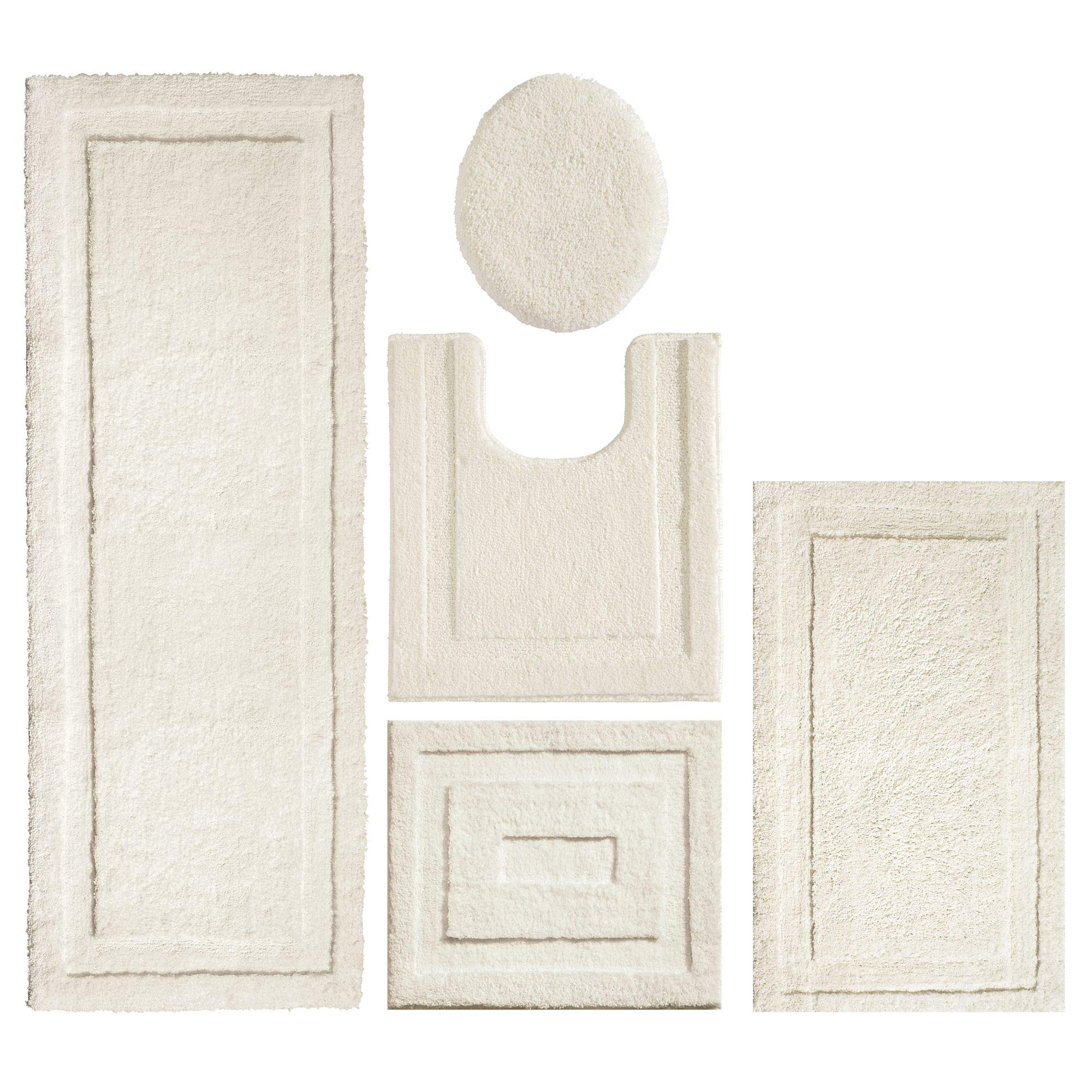 mDesign Soft Microfiber Polyester Bathroom Spa Rug Set - Water Absorbent, Machine Washable, Plush, Non-Slip - Includes 3 Rectangular Accent Rugs, Contour Mat, Toilet Lid Cover - Set of 5, Ivory