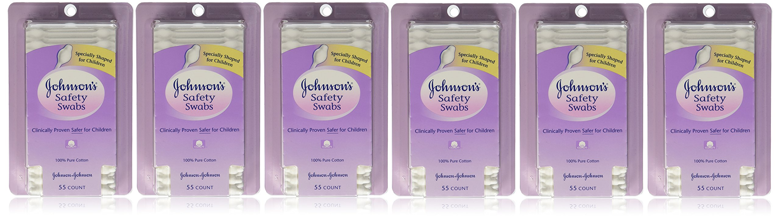 Johnson & Johnson Johnsons Safety Swabs 55 Count Peg (Pack of 6)