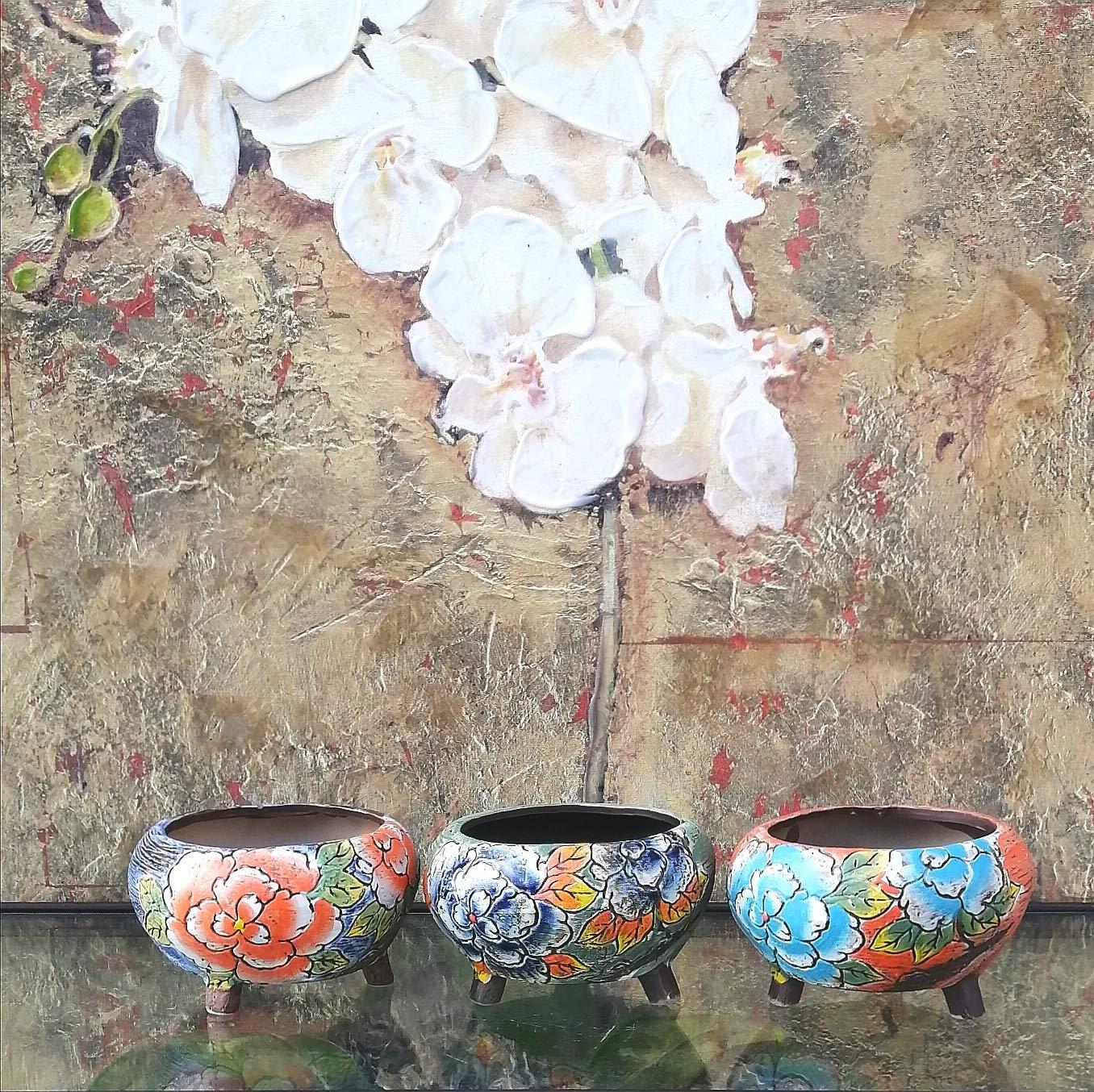 Hand Carved /& Painted Ceramic Plant Pot with Drainage Succulent Cactus Herb Planter Flower Vase Home Decor
