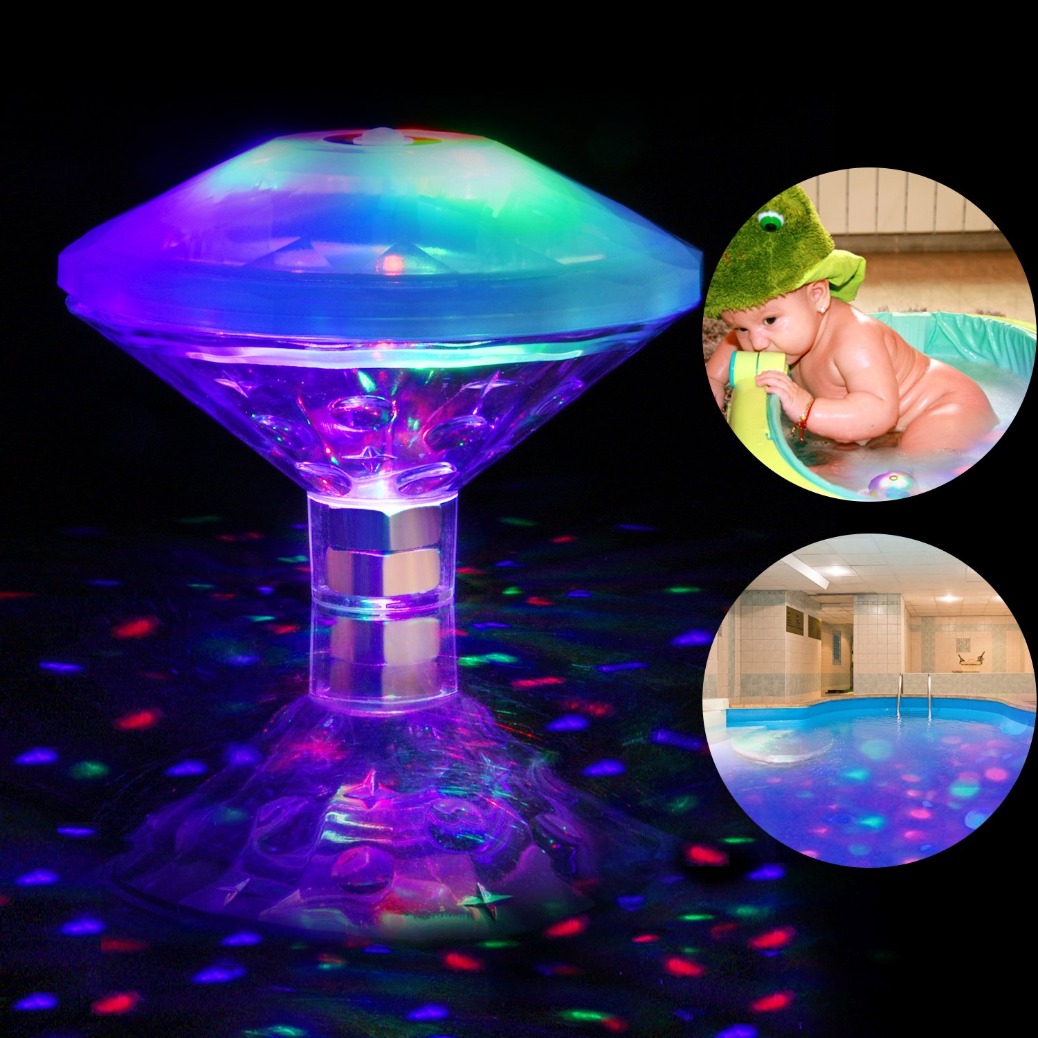 AOSTAR Waterproof Swimming Pool Lights, RGB, 7 Modes, Battery Operated Floating Pool Light Bulb for Pool, Pond, Hot Tub or Party Decorations by AOSTAR