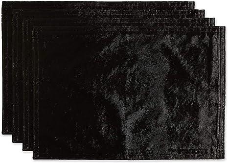 DII Velvet Collection Tabletop Black 14x72 Table Runner