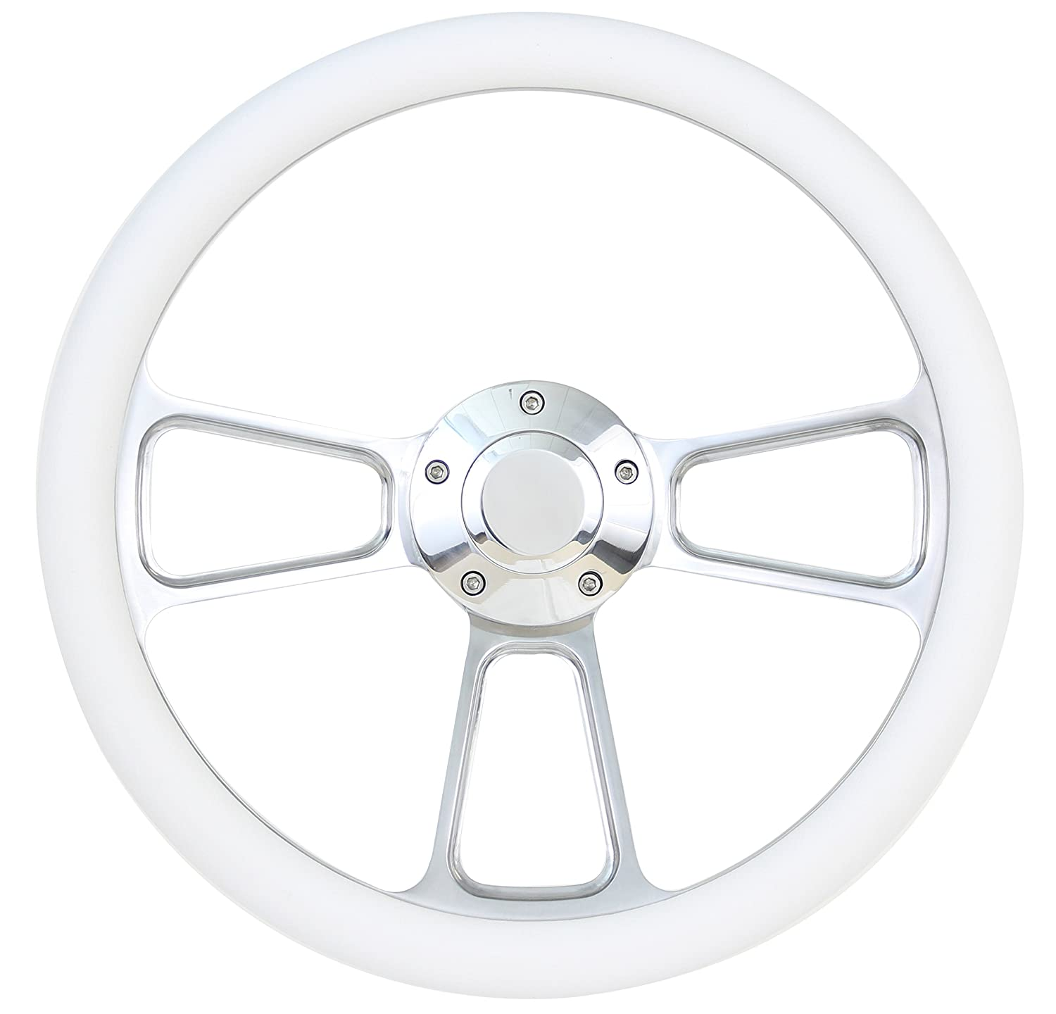 Marine Boat 14' Billet Aluminum White Steering Wheel Set Forever Sharp
