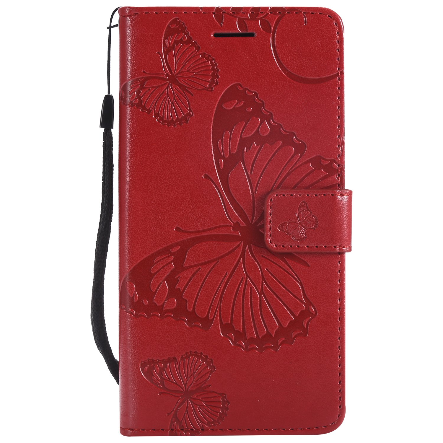 FNBK Magnetic Closure Leather Flip Notebook Wallet Cover Red 3D Embossed Butterfly Kickstand ID Slot Cash Pocket Bumper Protective Case Folio Case for Huawei P8 Lite 2017