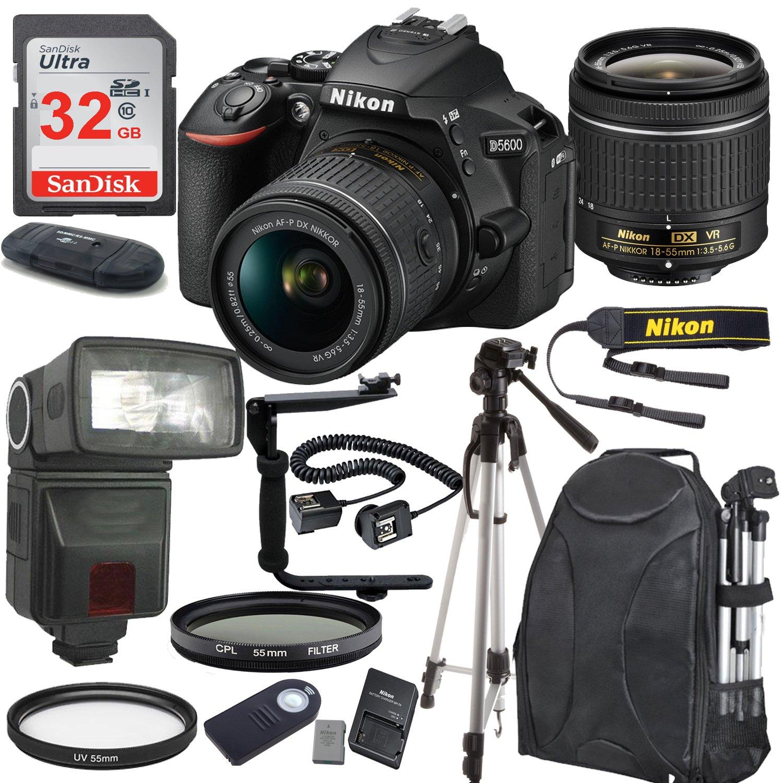 Amazon Nikon D5600 24 2 MP DSLR Camera Black with AF P DX NIKKOR 18 55mm f 3 5 5 6G VR Lens Bundle includes 32GB Memory TTL Flash Deluxe Backpack
