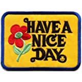 Have a Nice Day 70s slogan hippie retro boho weed love embroidered applique iron-on patch new