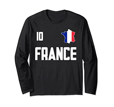Unisex France T-Shirt French Jersey Style Long Sleeve Soccer Tee Small Black a1a9b357d