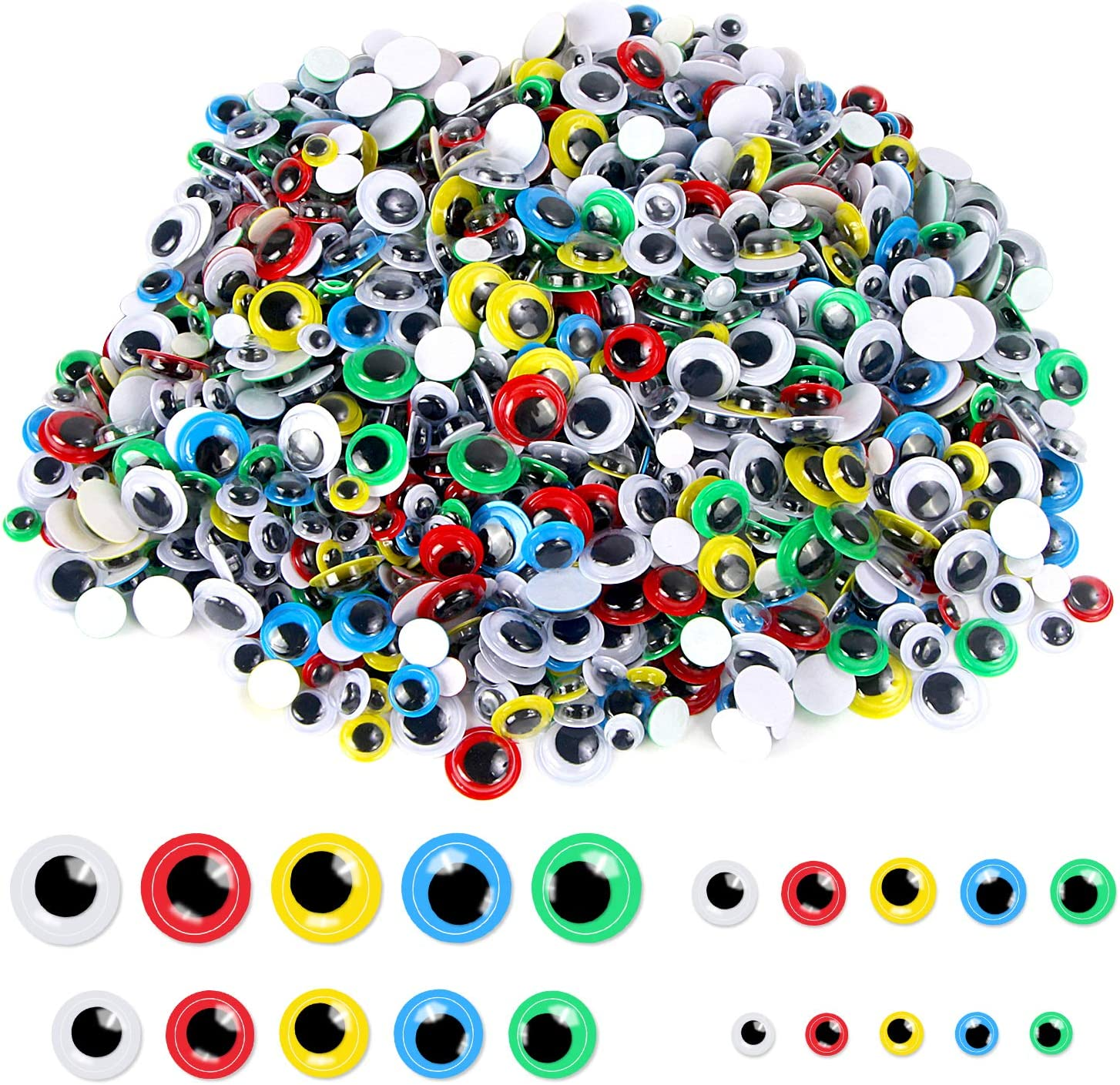 Upins 2000 Pcs Multicolor Wiggle Googly Eyes for Easter Day with Self-Adhesive,4 Sizes Mixed Packaging