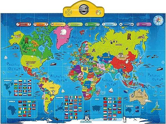 Think Gizmos Mapa Parlante Interactivo para niños TG661 - Presione, aprenda y descubra más de 1000 Hechos sobre Nuestro Mundo - Regalo Ideal para niños y niñas de Edad 5-10: Amazon.es: Juguetes y juegos