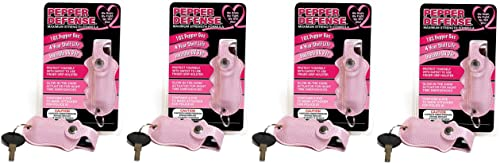 Pepper Defense Pack of 4 10 OC Pepper Spray - Max Strength Police Grade Formula - Pink Quick-Fire Finger Grip Holster - Cannot BE Shipped to New York