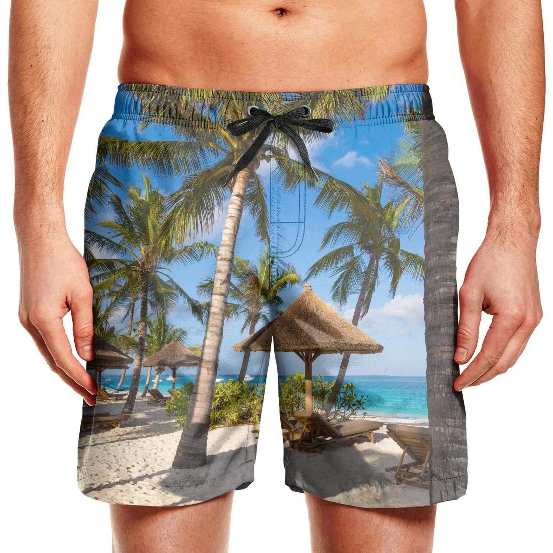 Mens Hawaiian Beach Resort Palm Trees Swim Trunks Holiday Beach Shorts Fit Board Shorts