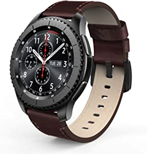 SWEES Leather Bands Compatible for Galaxy Watch 3 45mm & Gear S3 Frontier & Classic and Galaxy Watch 46mm, Genuine Leather 22mm Strap Replacement Wristband for Samsung Gear S3 Smartwatch, Brown