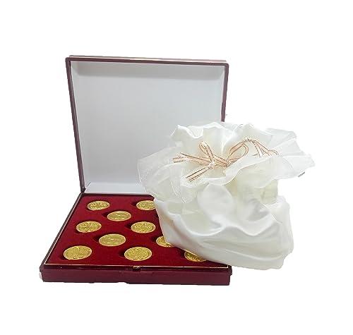 ARRAS DE LA VIDA en color dorado con Estuche y saquito de satén en blanco roto, incluido, para todas las Bodas y Enlaces.