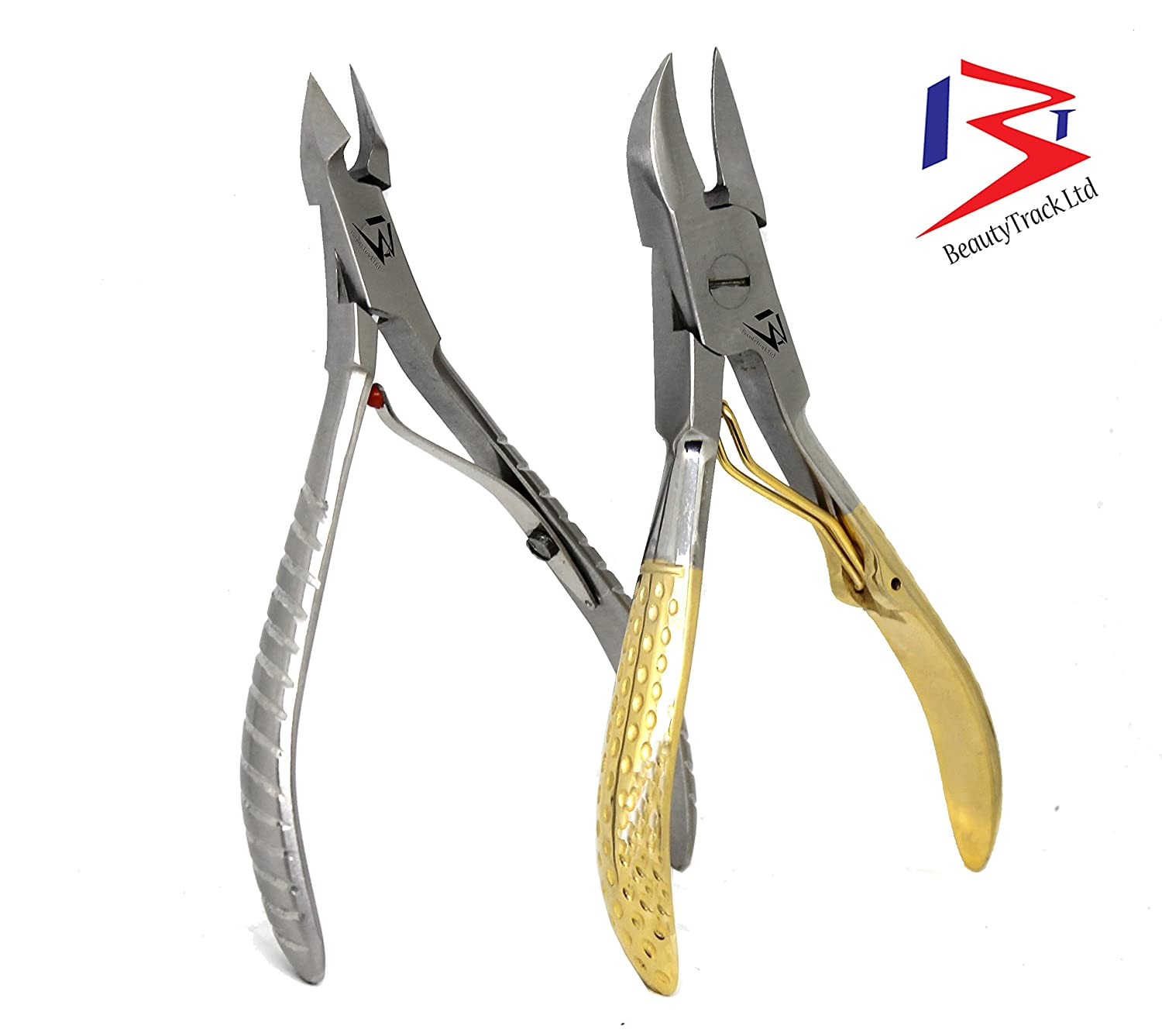 BeautyTrack Professional Ingrowing Toenail Clippers Cutter - Fast Pain Relief, Manicure Pedicure Instruments - Thick toenail cutter set - Cuticle nail nipper - Nail Cutter Gold handle