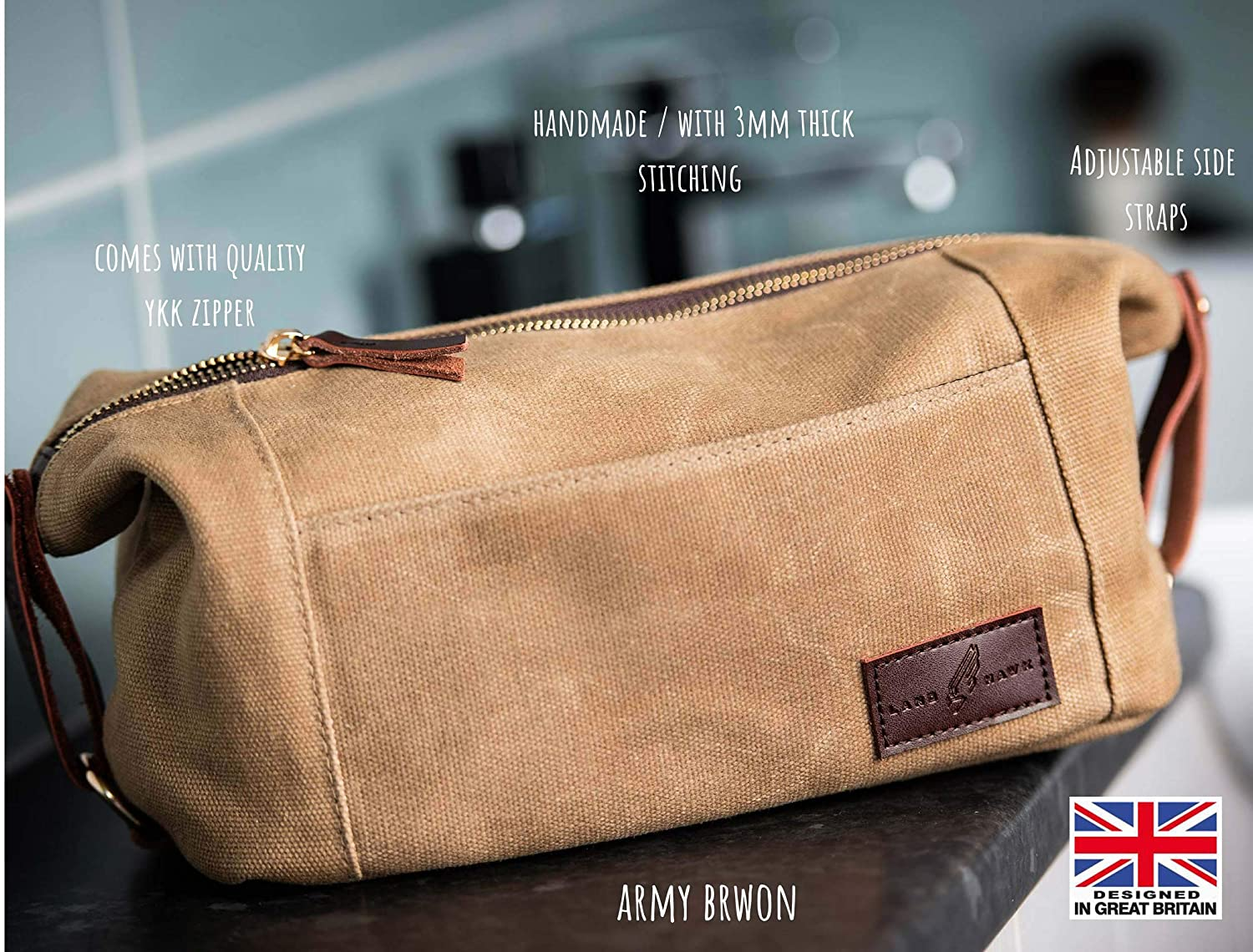 Durable Canvas From LANDHAWK Dopp Kit Army Brown Mens Toiletry Travel Bag YKK Zip Wash Bag