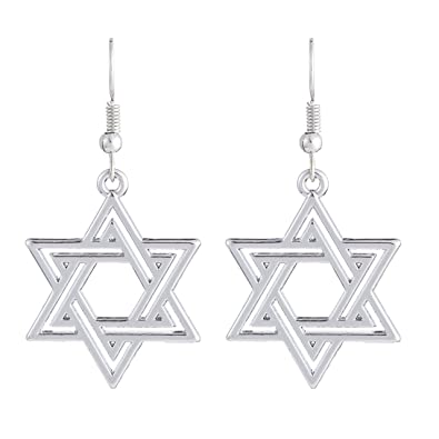 Vintage Talisman Religious Israel Star of David Crystal Pendant Drop Earrings Jewelry for Women and Girls
