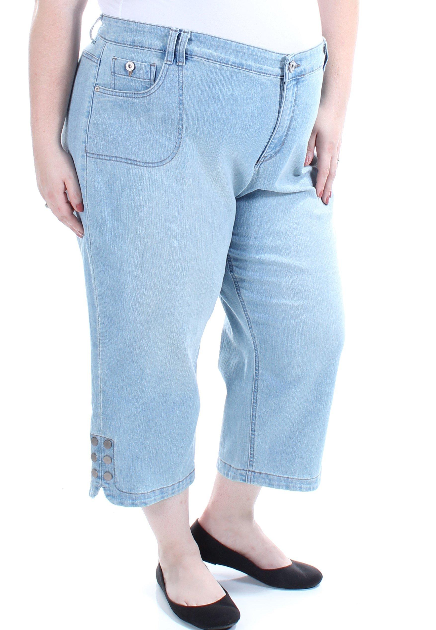 Style & Co. Womens Fashion Mid_Rise Button Leg Capri Jeans Blue 24W
