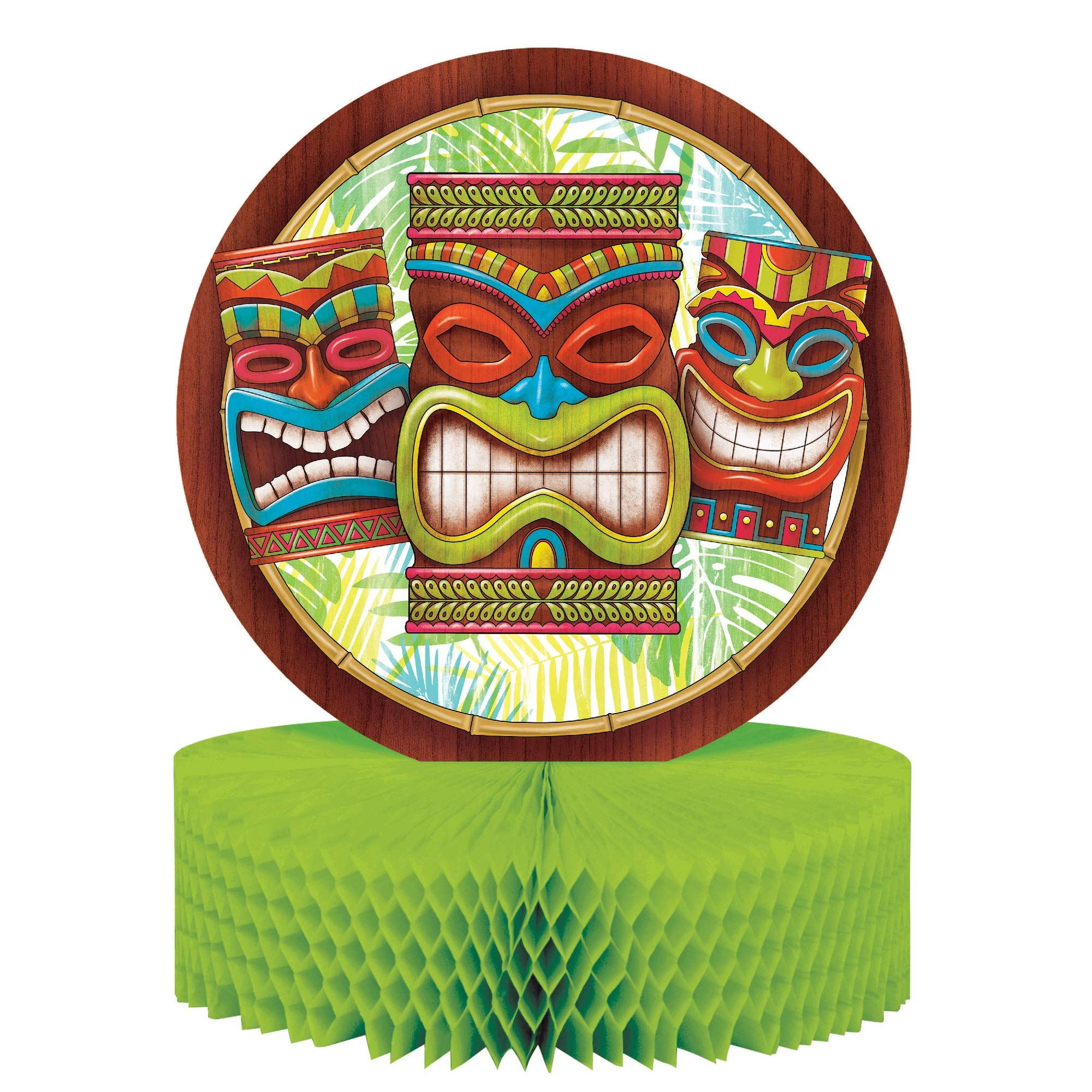 Club Pack of 12 Brown and Green Tiki Time Themed Honeycomb Centerpiece 13.5''