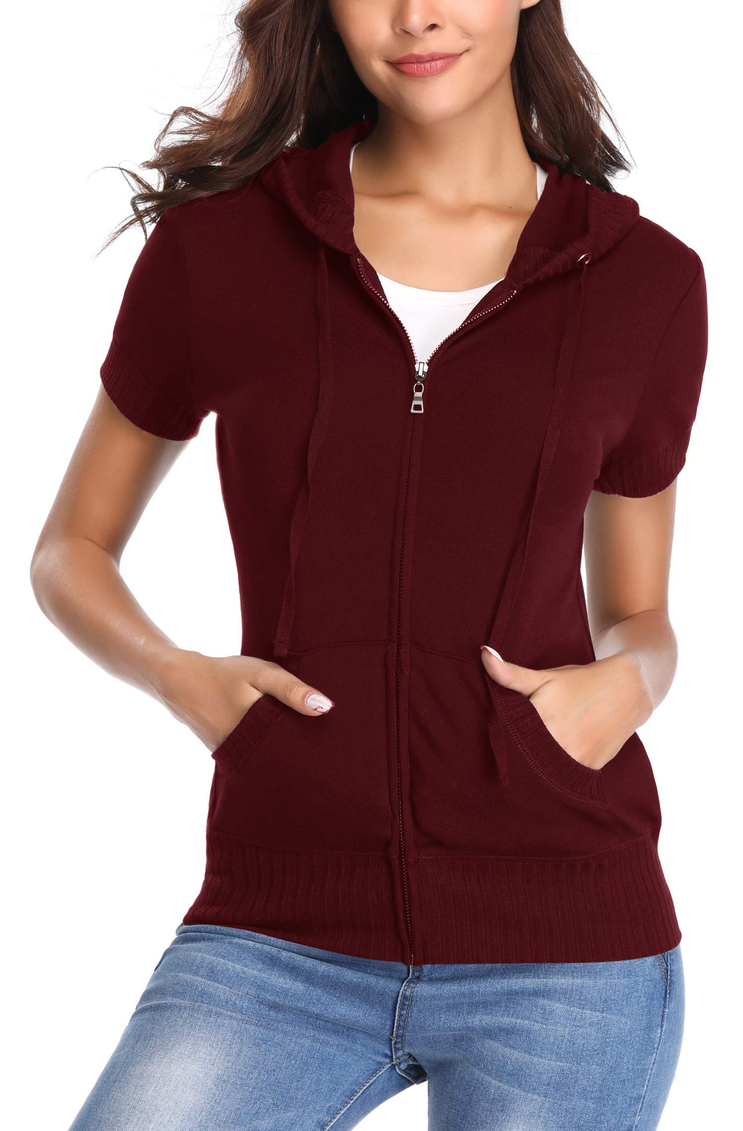MISS MOLY Women Hoodie Lightweight Short Sleeve Jackets Zip up Spring with 2 Patch Pockets Red M