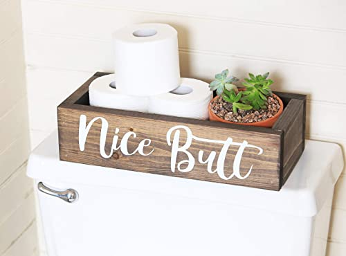 Nice Butt Bathroom Decor Box - Toilet Paper Holder - Farmhouse Rustic- Handmade in Boone North Carolina!