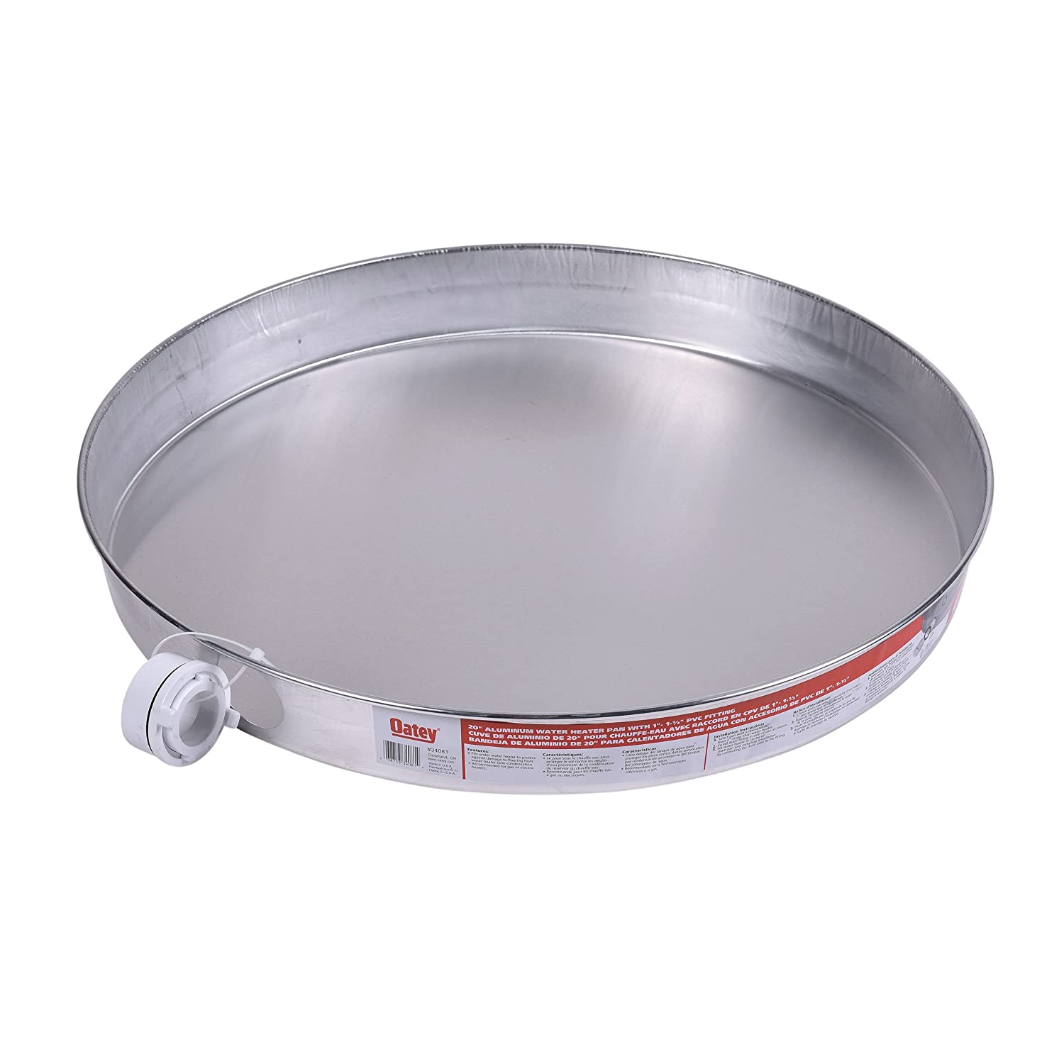 Oatey 34081 Aluminum Pan with 1-1/2-Inch PVC Fitting, Pan Pre-Drilled Hole, 20-Inch - Water Heater Replacement Parts - Amazon.com