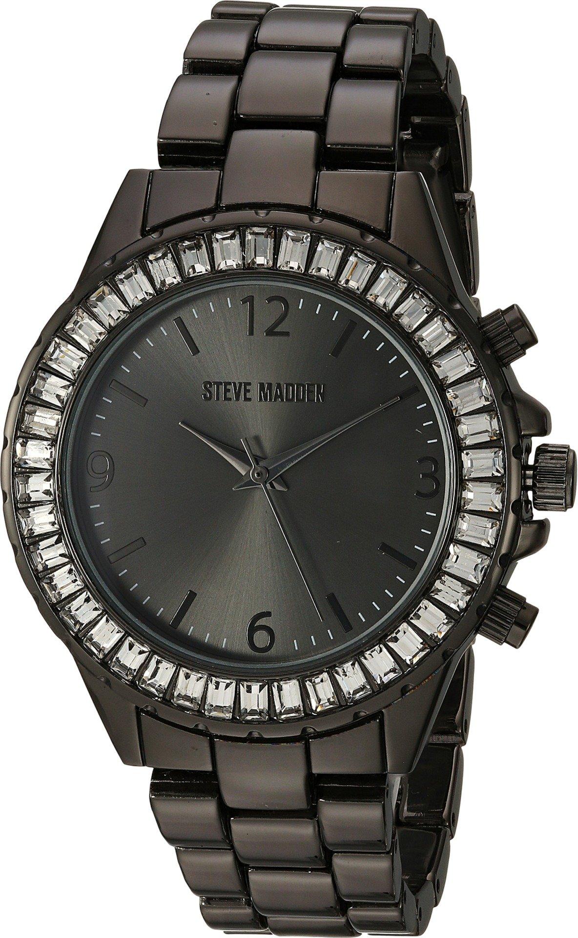 Steve Madden Women's Quartz Metal and Alloy Fashion Watch, Color:Black (Model: SMW093GU)