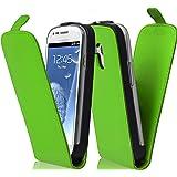 Cadorabo ! PREMIUM - Hülle Flip Style Design für Samsung Galaxy S3 MINI (GT-I8190) in GIFT-GRÜN