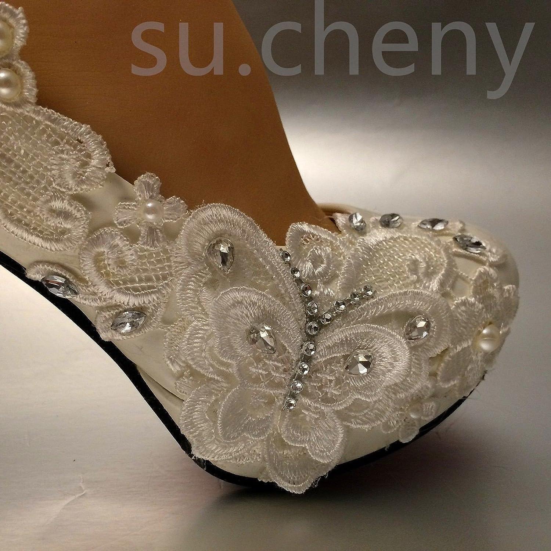 JINGXINSTORE Hellelfenbein Schmetterling Spitze Hochzeit Schuhe Braut 8 cm 3 3 3  Hoch Sehr Pumps Größe 5-11 4b09b1