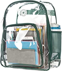 Heavy Duty Clear Backpack See Through PVC Stadium Security Transparent Workbag | Green
