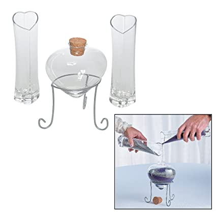 Amazon Heart Shaped Sand Ceremony Set Glass Includes 7 Heart