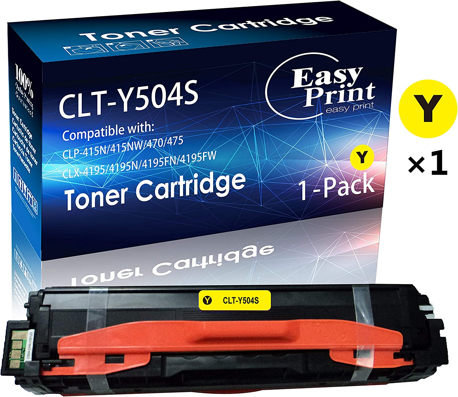 2-Pack Yellow Compatible High Yield CLT-Y504S CLT504S Y504S Laser Printer Toner Cartridge use for Samsung SL-C1810W SL-C1860FW CLX-4195 CLP-415NW CLP-470 Printer Up to 1,800 Pages per Cartridge