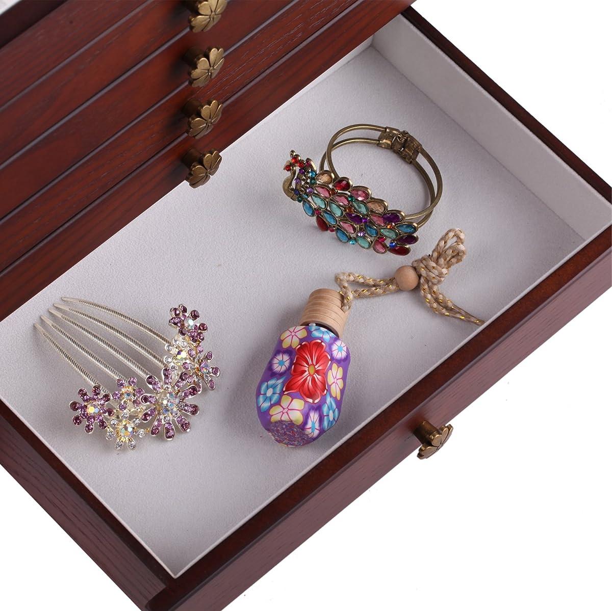 Large Wooden Jewellery Box Armoire Earrling Bracelet Organizer 6 Layers Mirror (BROWN)