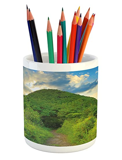 Ambesonne Nature Pencil Pen Holder, Mountain Path Covered by Trees Foliage  Bushes Highland Woodland Landscape - Amazon.com: Ambesonne Nature Pencil Pen Holder, Mountain Path