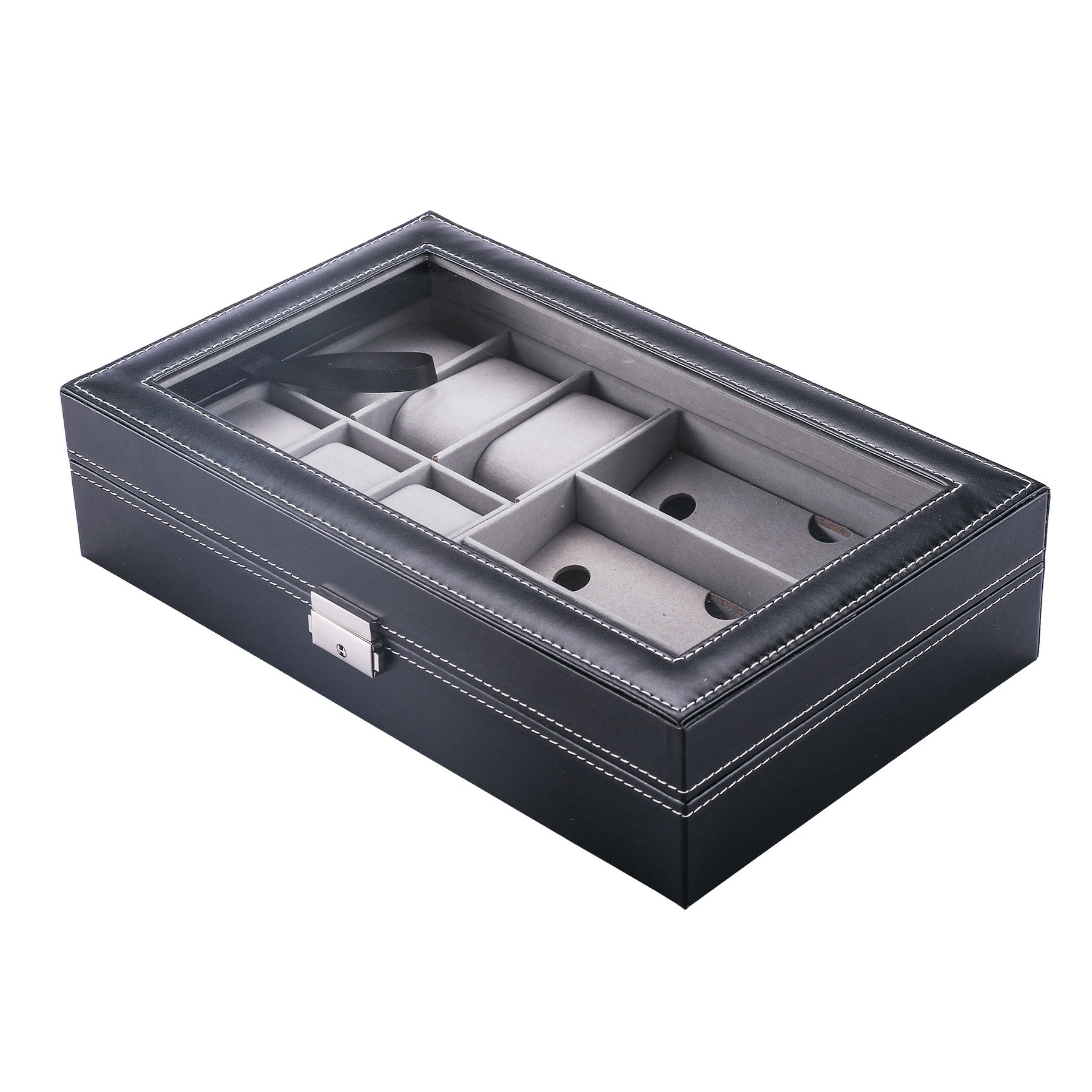 CO-Z Black Leather Display Box Jewelry Box Lockable Watch Case (9 Compartments, Watch + Sunglasses)