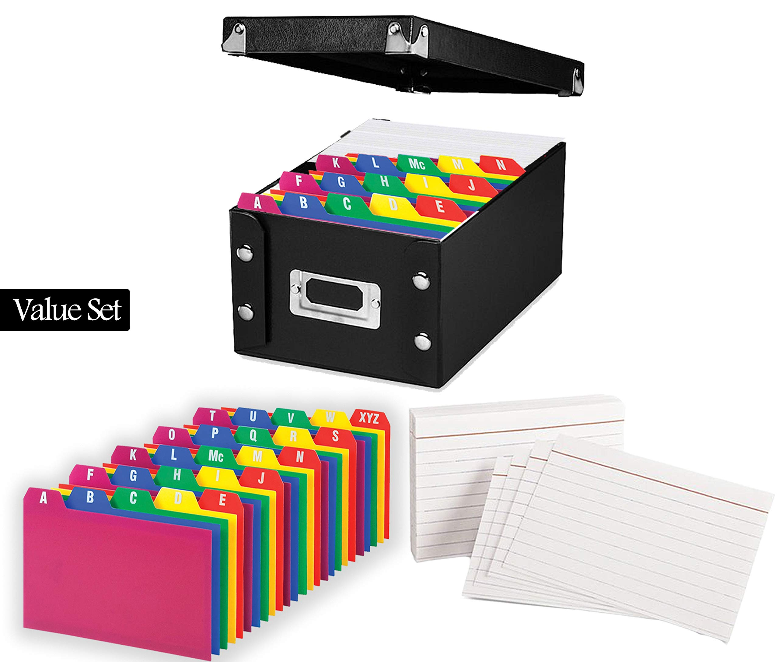 Index Card Storage Box, Black, 4x6'' - with Poly Card Guides, A-Z, 4 x 6-Inch, and Heavy Weight Index Cards, 4'' x 6'', Ruled, White, 100/Pack (4x6 Inch)