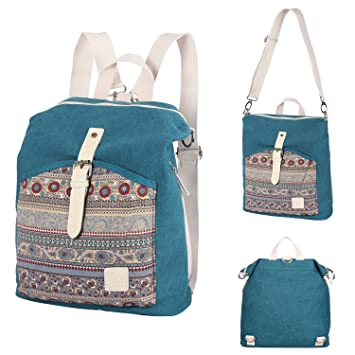Amazon.com  Womens backpack purse canvas convertible shoulder bag  lightweight casual daypack boho travel rucksack for womens  UPSTORE 4a8f18b221894