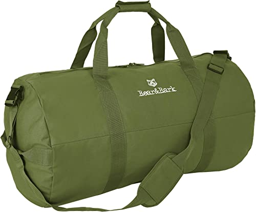 Large Duffle Bag Green 38 x20 – 195.6L – Canvas Military and Army Cargo Style Duffel Tote for Men and Women College Student, Backpacking, Travel and Storage Shoulder Bag