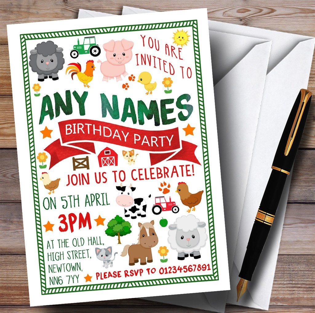 Fun On The Farm Animals Childrens Birthday Party Invitations